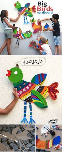 DIY Big Cardboard Birds - Great decor for the bird theme classroom or homeschool. DIY Big Cardboard Birds - Great decor for the bird theme classroom or homeschool room! I would put one in each area - reading, writing, math, etc. Art For Kids, Crafts For Kids, Arts And Crafts, Art Children, Family Crafts, Kids Diy, Collaborative Art Projects For Kids, Art Carton, Animal Art Projects