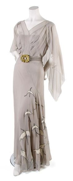 From a collection of gowns found in a Boston attic and owned by the granddaughter of the founder of Tiffany. | French Couture Pale Blue Day Dress,   probably 1930s