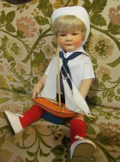 LOVE THIS FACE !!!! Vintage Felt Doll R John Wright Doll Arthur Limited Edition Doll Sailor Boy and Sailboat Nautical Decor ReVintageLannie.Etsy.com