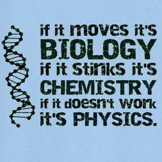 Si se mueve, es Biología. Si huele mal, es Química. Si no funciona, es Física.