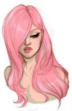 girl with pink hair illustration Character Design References, Character Art, Illustrations, Illustration Art, Drawing Sketches, Art Drawings, Arte Sketchbook, Poster S, Love Art