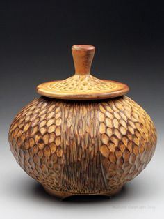 Dyann Myers Iron Yellow Carved Jar at MudFire Gallery