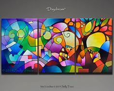 Original paisaje abstracto pintura pintura geométrica