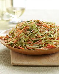Crunchy Broccoli Slaw - Most people throw away broccoli stems, preferring to eat the florets. But cut into long thin strips with a fine julienne peeler, the sweet and crunchy stems are perfect in a fresh-tasting slaw with carrots, scallions and salty sunflower seeds.