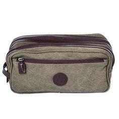 Men's leather accent cotton travel case, 'Olive Textures' - Men's Leather Accent Olive Green Cotton Travel Case