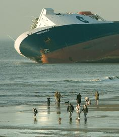 Seatruck ferry , M.S.Riverdance . Hit by a freak wave her cargo shifted and she beached close to Blackpool , Lancashire .