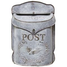 Farmhouse Home Decor, Furniture, Gifts Distressed Galvanized Metal Post Box - Vintage style mailbox Made of galvanized tin Features an open close mail slot, post and bird detailing Hole on top for hanging. high by wide with a depth lbs Post Box Vintage, Vintage Mailbox, Metal Mailbox, Wall Mount Mailbox, Mounted Mailbox, Antique Mailbox, Letter Holder Wall, Letter Wall, Post Box Wall Mounted