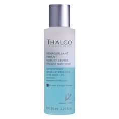 Thalgo Waterproof Make-Up Remover Eyes and Lips is for thoroughly removing eye and lip make-up. This bi-phase lotion instantly and effectively removes all types of make-up, even waterproof and long-lasting formulas.