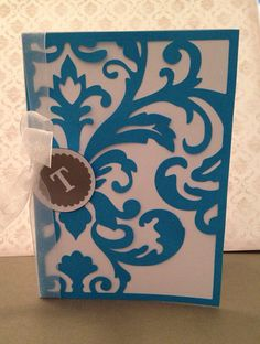 Damask Wedding Invitation 5x7-Set of 12 on Etsy, $42.00. Made with cardstock and Cricut cartridges Damask Decor and Tie the Knot.  The monogram tag is made with cardstock and vinyl.