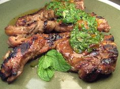 Grilled Lamb Shoulder Chops With Fresh Mint Sauce (made with marmalade) Lamb Shoulder Chops, Food Dishes, Main Dishes, Lamb Chop Recipes, Mint Sauce, Grilled Lamb, Lamb Chops, Roasted Potatoes, Fresh Mint