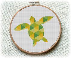 BOGO FREE! Tortoise, Cross Stitch Pattern Nature Ocean Animals Wall Home Modern Decor Green Blue Yellow Daffodil PDF Instant Download #025-7