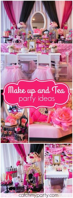 You have to see this makeup boutique birthday with a tea party! See more party ideas at Catchmyparty.com!
