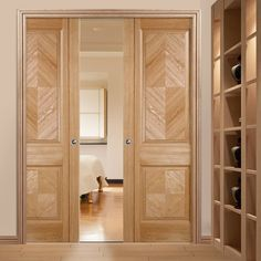 Double Pocket Madrid Oak Veneer Door with Lacquer Pre-Finishing. #elegantdoors #lpddoors #pocketdoors