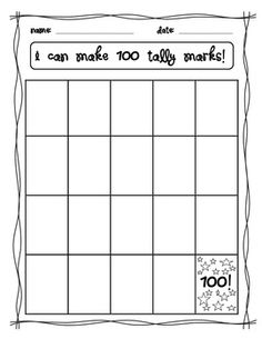 100th Day of School- tally marks
