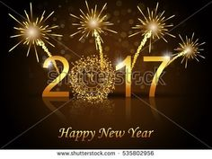 Vector 2017 Happy New Year background with gold color
