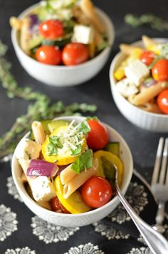 Roasted Summer Squash Pasta with Feta and Thyme