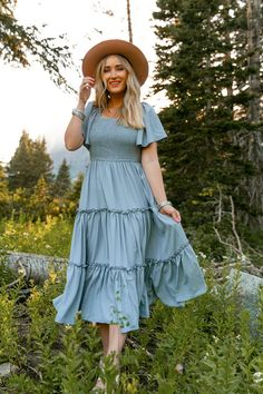 Modest Outfits, Modest Fashion, Fashion Outfits, Modest Dresses For Teens, Church Dresses For Women, Blue Dress Outfits, Modest Clothing, Fashion Fall, Stylish Outfits