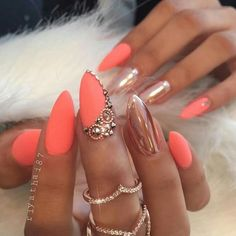 Chrome and coral nails                                                                                                                                                                                 More