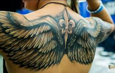 Fleur De Lis And Angel Wings Tattoos On Back