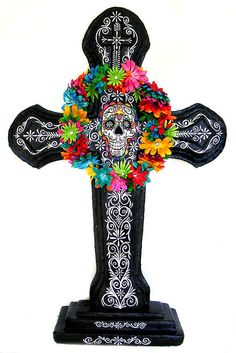Day of the Dead Painted Styrofoam Cross