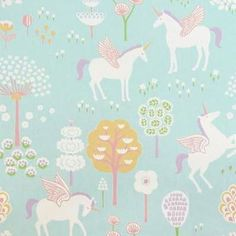 Majvillan True Unicorns Wallpaper in Turquoise. Playful girls wallpaper with a nordic influence. Non-Woven Wallpaper (paste the wall) Washable & Eco-Friendly Roll Size: x Repeat: Straight Match Pink Wallpaper Bedroom, Turquoise Wallpaper, Kids Wallpaper, Cartoon Wallpaper, Unicorns Wallpaper, Wallpaper Designs, Wallpaper Paste, Unicorn Rooms, Unicorn Bedroom
