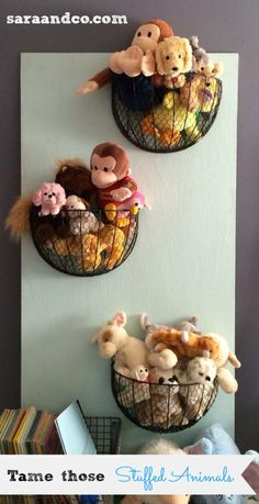Stuffed animal storage and organization ideas - DIY Kinderzimmer Ideen Creative Toy Storage, Diy Toy Storage, Kids Storage, Storage Ideas, Storage Hooks, Wall Storage, Storage Baskets, Storage Solutions, Stuffed Animal Storage