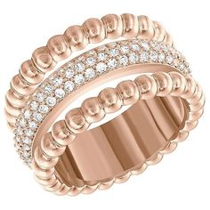 Swarovski Rose Goldtone Click Ring - Size 7 ($125) ❤ liked on Polyvore featuring jewelry, rings, rose gold, swarovski jewellery, rose gold tone rings, rose ring, sparkle jewelry and swarovski jewelry