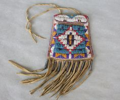 Items similar to Old Sioux Beaded Strike a Light Fire Pouch w/ Tin Cones & Stepped Diamond Motif on Etsy Native American Tools, Native American Artifacts, American Indian Art, Native American Indians, Indian Beadwork, Native Beadwork, Native American Beadwork, Native Indian, Native Art