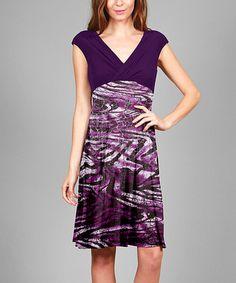 Look at this #zulilyfind! Purple & Black Abstract Surplice Dress - Plus #zulilyfinds