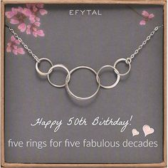 Amazon.com: EFYTAL 50th Birthday gifts for women, Sterling Silver Five Circle Necklace For Her 5 Decade Jewelry 50 Years Old: Clothing Diamond Initial Necklace, Letter Necklace, Circle Necklace, Family Necklace, 50th Birthday Gifts For Woman, Happy 50th Birthday, Mom Birthday, Thing 1, Sterling Necklaces