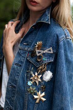 Image result for brooches on denim jacket