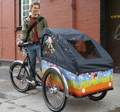 Love this colorful Christiania bike. I definitely want one of these ! Christiania Copenhagen, Christiania Bike, Velo Cargo, Bike Pic, Bike Trailer, Bike Rides, Sidecar, Bike Design, Danish Design