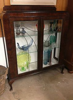 Vintage Art Deco Wood Veneered Glass Display Cabinet