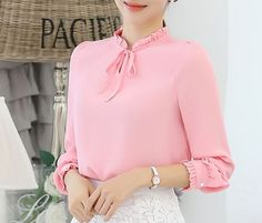 Plus Size Women Shirts Blouse 2017 Long Sleeve Bow Ruffle Collar Chiffon Blouse Korean OL Casual Office Wear Elegant Ladies Tops Top Chic, Casual Office Wear, Chiffon Shirt, Chiffon Blouses, Fashion Moda, Plus Size Women, Plus Size Outfits, Blouses For Women, Work Wear