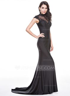 Trumpet/Mermaid High Neck Sweep Train Tulle Jersey Evening Dress With Beading Appliques Lace Sequins (017056095)