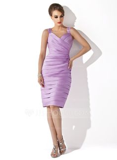 Sheath/Column Sweetheart Knee-Length Satin Mother of the Bride Dress With Ruffle Beading (008006163)