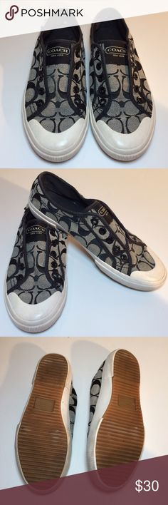 Coach Korrin Tennis Shoes Oh so comfortable Coach slip on tennis shoes!  Preloved but no flaws. Soooo cute!  True to size. Size 7.5. No trades. Price is firm. Coach Shoes Sneakers