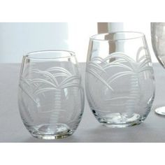 Palm Trees Etched Stemless Wine Tumblers