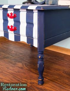 Navy and White Striped Nightstand - Restoration Redoux Beach Condo Decor, Blue Home Decor, Navy And White, Red And White, Condo Decorating, Decorating Ideas, Blue Nightstands, Patriotic Crafts, Crafts To Do