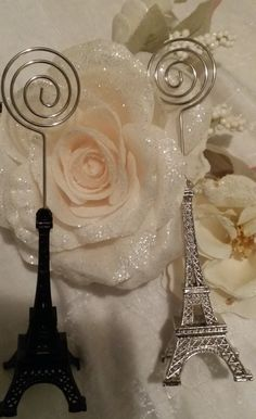 Eiffel Tower Silver Wedding, Eiffel Table Number Holder, Silver Card Holder, Eiffel Tower Table Decoration, Paris Theme, Table Number Holder