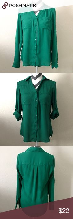 Original Fit Convertible Sleeve Portofino Shirt In Great Condition. Used Once! Please see pictures. Great spring color. Bundle and save in my closet. Thanks for checking. Happy shopping and happy poshing! 😊❤️ Express Tops Blouses