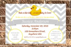 Duck Baby Shower Invitation with Free Thank You