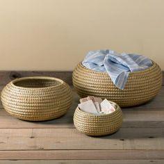 Woven Round Pot Baskets - Set of 3   We love VivaTerra!  Beautiful job, Bangladeshi weavers.