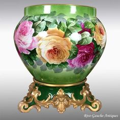 tall Large Limoges France Jardiniere / cache-pot with hand painted colorful roses on separate base, T & V Waste Container, Colorful Roses, China Painting, China Patterns, Beverages, Old Things, Vanity, Victorian, Pottery