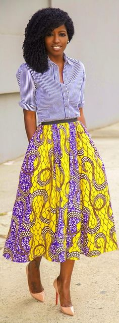 Great bold and print look with striped Shirt + African Print Midi Skirt. African Inspired Fashion, African Print Fashion, Fashion Prints, African Prints, African Attire, African Wear, African Dress, African Style, Vetements Clothing