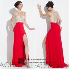 Cheap Vestidos atractivos rojos de baile para graduación envío rápido Vestidos para Festa Vestidos de Fiesta cristales Mermaid largo Vestidos de noche, Compro Calidad Vestidos de Gala directamente de los surtidores de China:                               Bienvenido a nuestra tienda                                              Modest elegante v