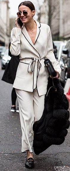 Black and White PJ Set Street Style | Major Spring Trends Spotted At London Fashion Week | Fashionvibe