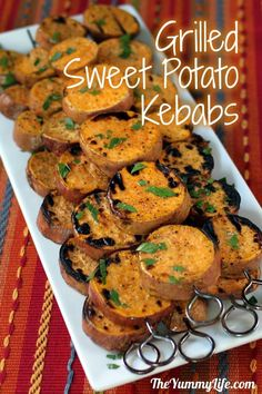 Grilled Sweet Potato Kebabs. Easy, nutritious & delicious, without heating the kitchen! www.theyummylife.com/Grilled_Sweet_Potatoes