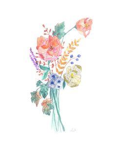 Autumn bouquet assortment watercolor poster painting