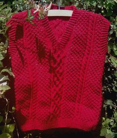 Boy's handknit red aran cable sleeveless sweater. by bebbyjumpers, £17.00